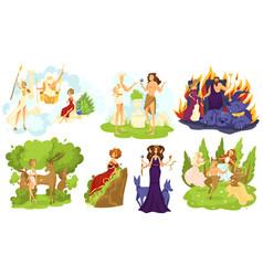 Greek mythology gods and goddesses set cartoon vector