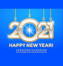 greeting card happy new year 2021 luxury alphabet vector image