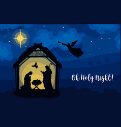 Greeting card traditional christian christmas vector