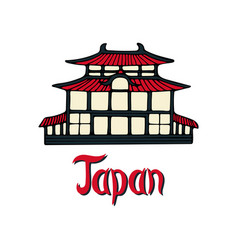 hand-drawn with japanese pagoda vector image