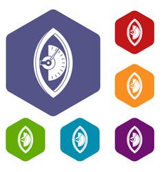 Hand power meter icons set hexagon vector