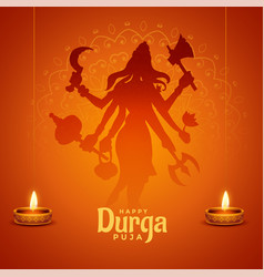 Happy durga pooja indian festival wishes card vector