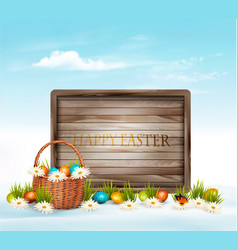happy easter background eggs in a basket and vector image