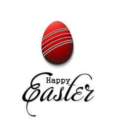 happy easter egg in form a cricket ball vector image