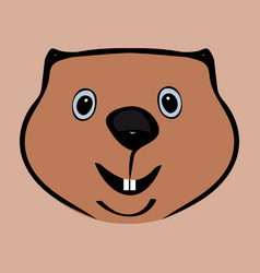 Happy groundhog day funny cute head vector