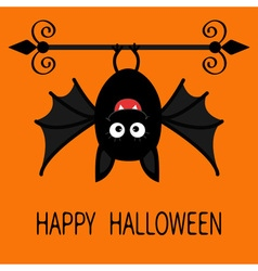 Happy Halloween card Cute cartoon hanging bat vector