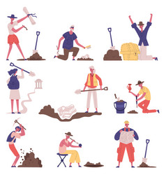 Historical artefacts archaeology excavation vector