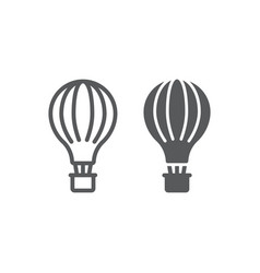 hot air balloon line and glyph icon airship and vector image