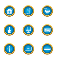 Independent energy icons set flat style vector