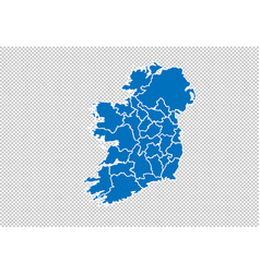 Ireland map - high detailed blue map vector
