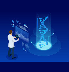 Isometric dna helix dna analysing concept vector