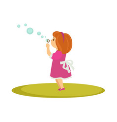 Kid girl blowing soap bubbles cartoon vector