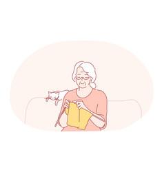 Knitting hobbies elderly people concept vector