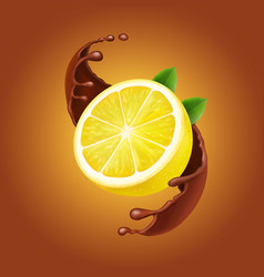 lemon with leaves and chocolate splash realistic vector image