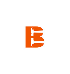 letter b hammer logo design for construction vector image