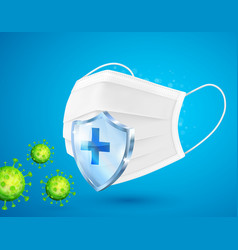 Medical mask protects against viruses germs vector