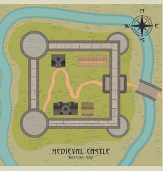 Medieval castle map vector
