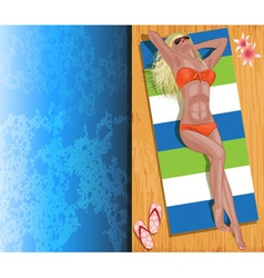 Model Sunbathing by a Pool vector image