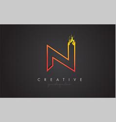 n letter design with golden outline and grunge vector image