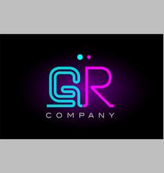 Neon lights alphabet gr g r letter logo icon vector