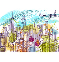 New york city landscape with watercolor splashes vector