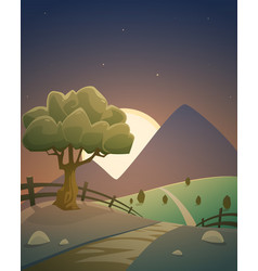 Night summer countryside landscape vector