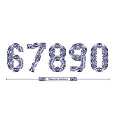Numbers polynesian tattoo style in a set 67890 vector