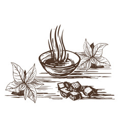 oriental tea with sugar vector image