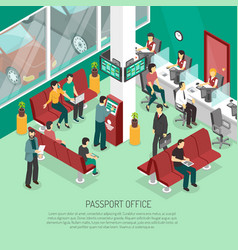 Passport office isometric vector