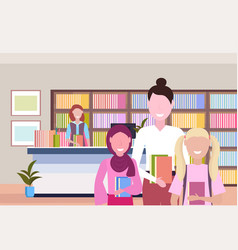 people borrowing books from librarian modern vector image