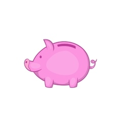 Pink piggy bank icon cartoon style vector image