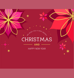 red christmas greeting card with red background vector image