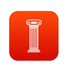 roman column icon digital red vector image