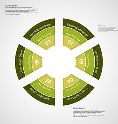 Round infographic consists of six green parts vector