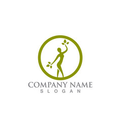 salon woman logo and symbols vector image