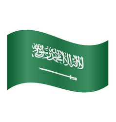 Saudi arabia flag waving on white background vector