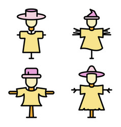 scarecrow icons flat vector image