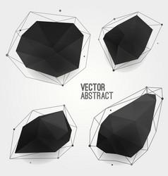 set abstract modern black crystal shapes vector image
