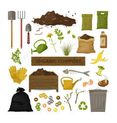 set cartoon flat icons organic compost theme vector image