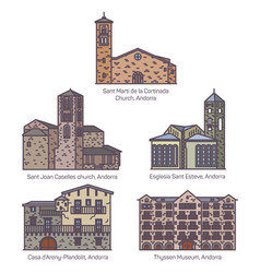 set isolated colorful andorra church and castle vector image