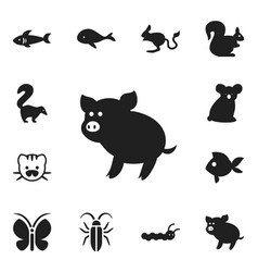 set of 12 editable animal icons includes symbols vector image