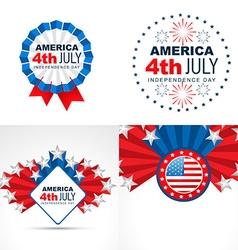 set of american flag design badge vector image