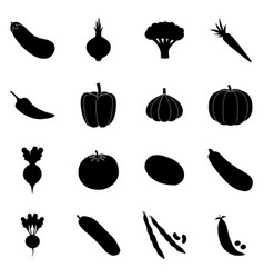 Set of black vegetable icons vector