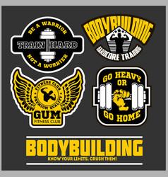 set of bodybuilding emblems in black colour vector image