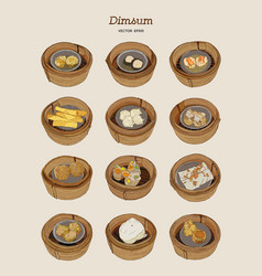 Set of dim-sum hand draw sketch vector