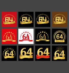Set of number sixty-four 64 years celebration vector