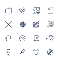 set with 16 icons for mobile app sites mobile vector image