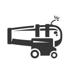 ship cannon gun bold black silhouette icon vector image