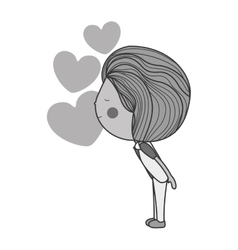 Silhouette boy kissing hearts in the air vector