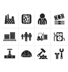 Silhouette Business factory and mill icons vector